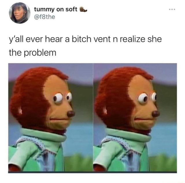 Tummy on soft y'all ever hear a bitch vent n realize she the problem 6 0 t meme