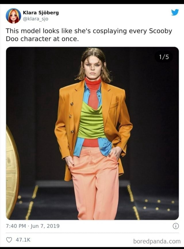 This model looks like she's cosplaying every Scooby Doo character at once. PM Jun 7, 2019 memes