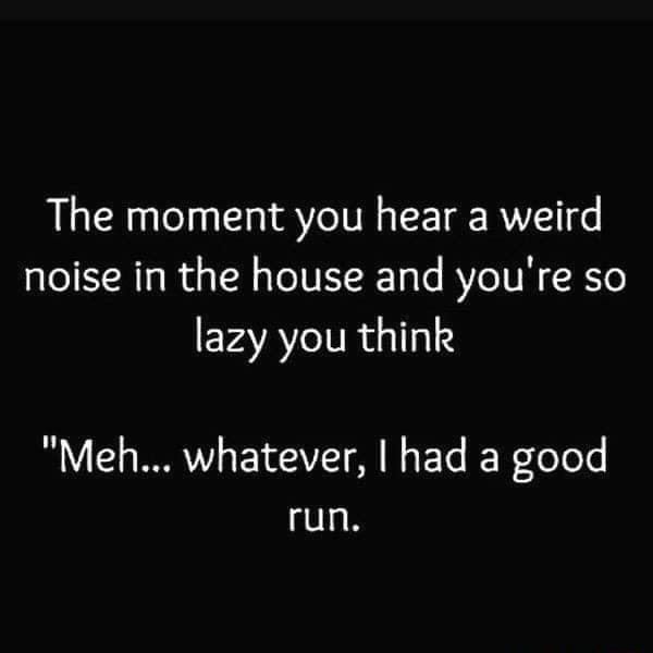 The moment you hear a weird noise in the house and you're so lazy you think Meh whatever, I had a good run, memes