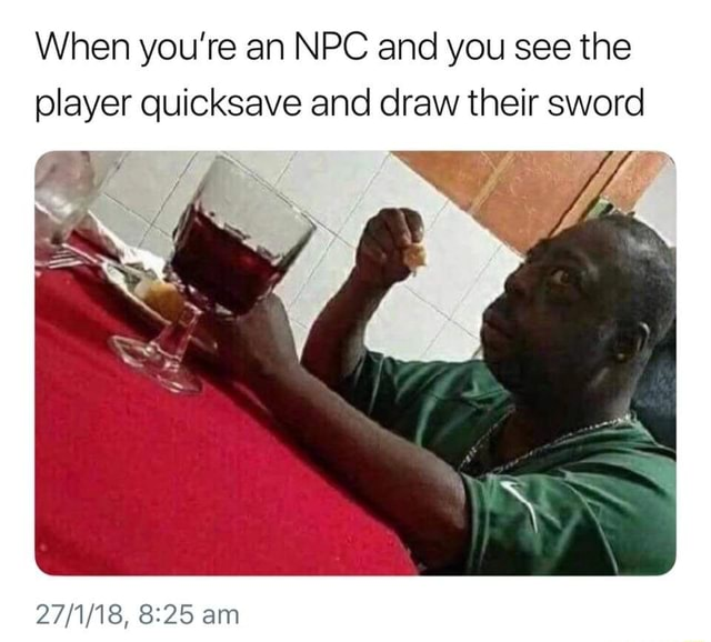 When you're an NPC and you see the player quicksave and draw their sword am meme
