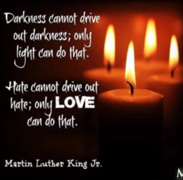 Darkness cannot drive out darkness only dan do that. Hate cannot drive out hate only LOVE that. Martin Luther King dr memes