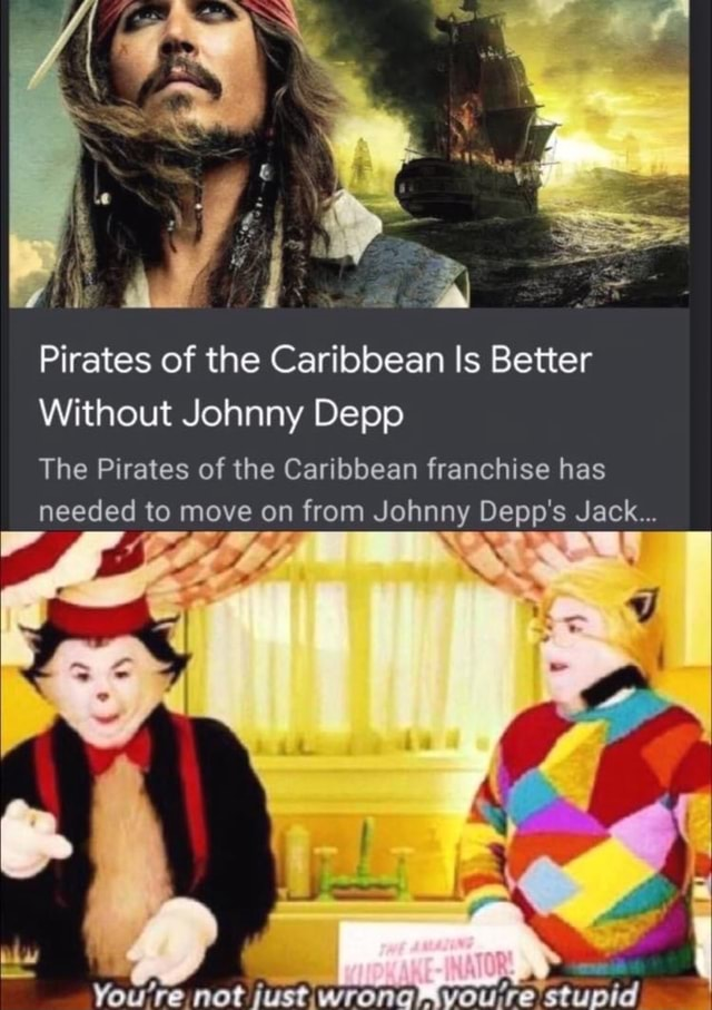 Pirates of the Caribbean Is Better Without Johnny Depp The Pirates of the Caribbean franchise has needed to move on from Johnny Depp's Jack ff You're not just.wrong Voure stupid meme