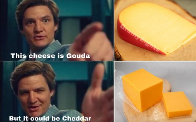 This cheese is Gouda But it could be Cheddar meme