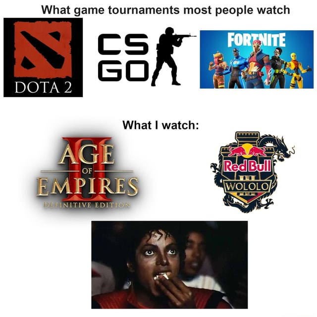 What game tournaments most people watch CS GO DOTA 2 What watch AGE IN memes