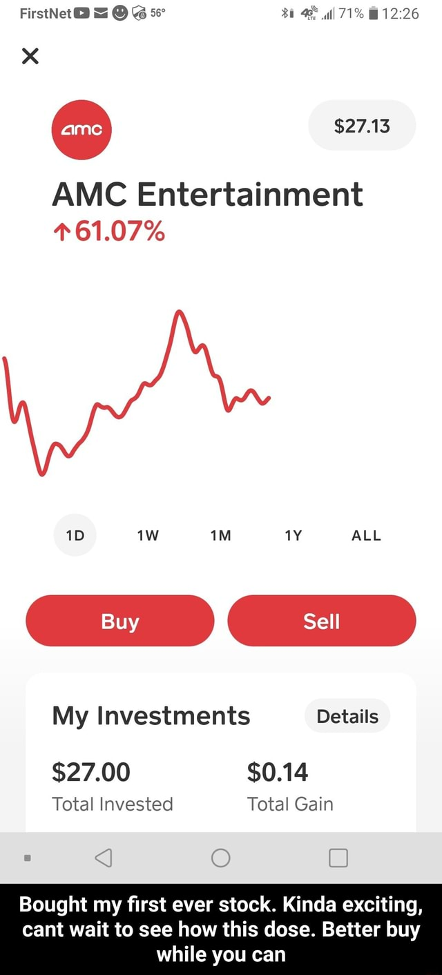 FirstNet 71% $27.13 AMC Entertainment 61.07% ALL Buy Sell My Investments Details $27.00 $0.14 Total Invested Total Gain Bought my first ever stock. Kinda exciting, cant wait to see how this dose. Better buy while you can  Bought my first ever stock. Kinda exciting, cant wait to see how this dose. Better buy while you can memes