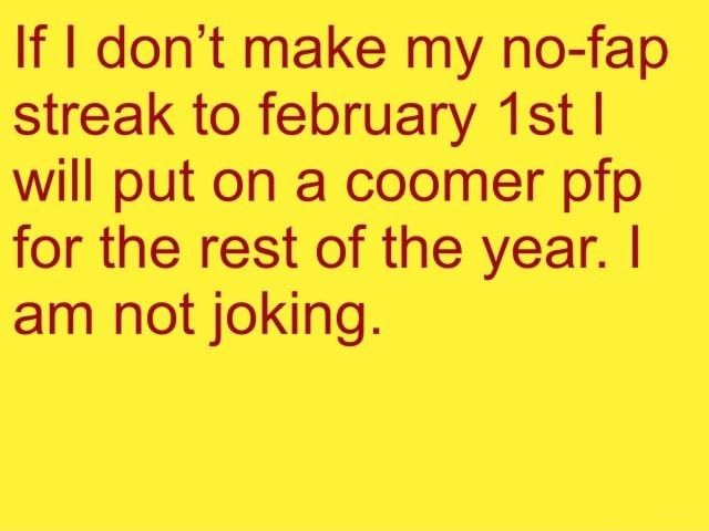 If do not make my no fap streak to february I will put on a coomer pfp for the rest of the year. I am not joking memes