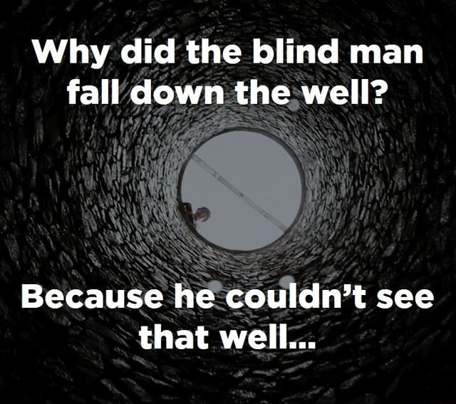 Why did the blind man fall down the well Because he couldn't see that well memes