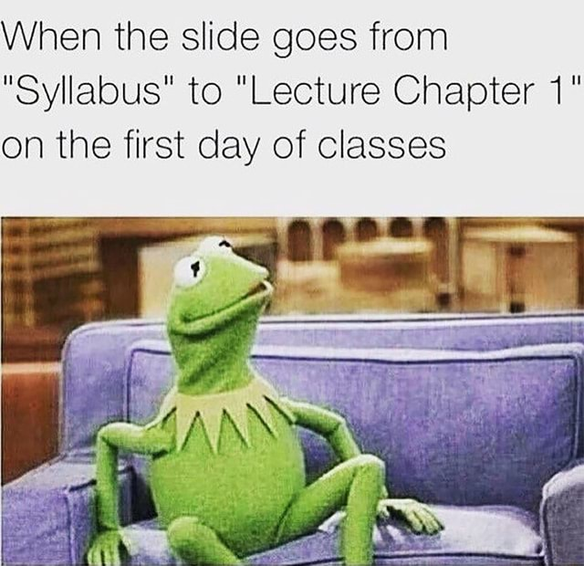 When the slide goes from Syllabus to Lecture Chapter on the first day of classes meme
