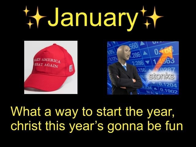 This is the start of my 2021 Major Events calendar. Let's see if we can't beat last year   January What a way to start the year, christ this year's gonna be fun meme