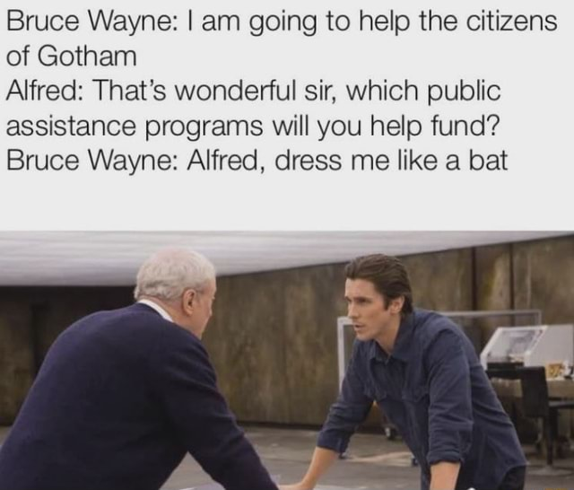 Bruce Wayne I am going to help the citizens of Gotham Alfred That's wonderful sir, which public assistance programs will you help fund Bruce Wayne Alfred, dress me like a bat memes