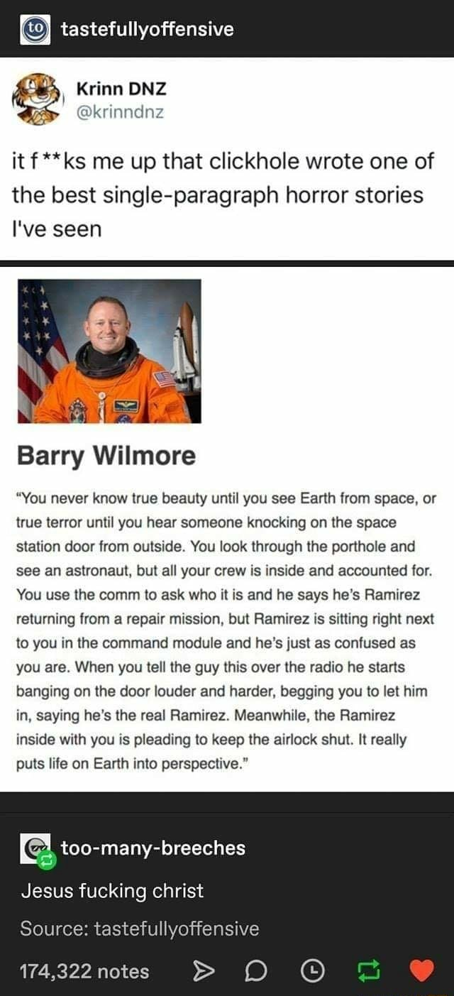 Tastefullyoffensive Krinn ONZ it ks me up that clickhole wrote one of the best single paragraph horror stories I've seen Barry Wilmore You never know true beauty until you see Earth from space, or true terror until you hear someone knocking on the space station door from outside. You look through the porthole and see an astronaut, but all your crew is inside and accounted for. You use the comm to ask who it is and he says he's Ramirez returning from a repair mission, but Ramirez is sitting right next to you in the command module and he's just as confused as you are. When you tell the guy this over the radio he starts banging on the door louder and harder, begging you to let him in, saying he's the real Ramirez. Meanwhile, the Ramirez inside with you is pleading to keep the airlock shut. It