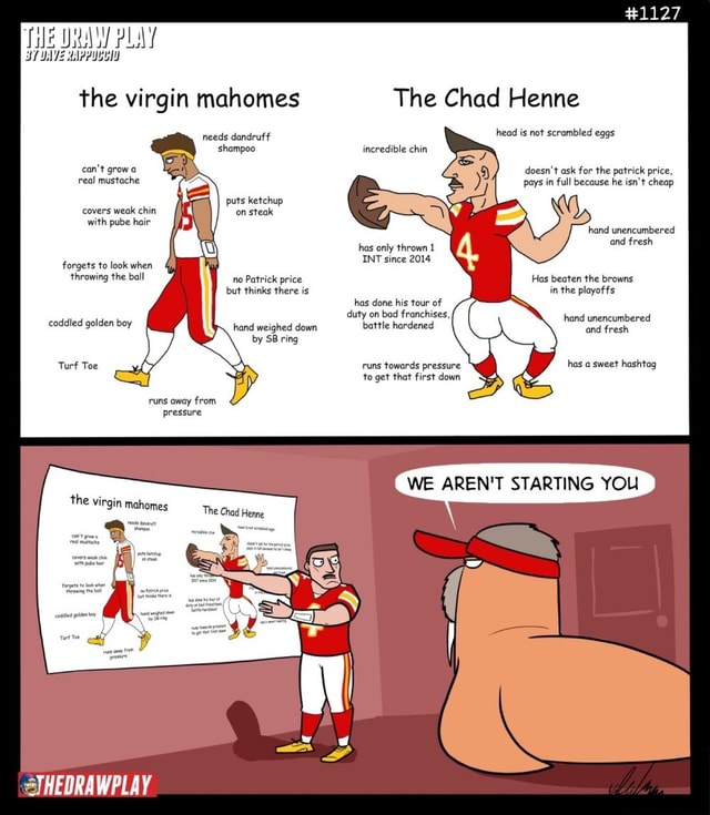Tile PLAY the virgin mahomes needs dandruff shampoo can not grow a real mustache puts ketchup covers weak chin on steak with pube hair forgets to look when throwing the ball no Patrick price but thinks there is coddled golden boy hand weighed down by SB ring Turf Toe runs away from pressure fenne the virgin mahomes THEDRAWPLAY The Chad Henne head is not scrambled eggs incredible chin doesn't ask for the patrick price, pays in full because he isn't cheap hand unencumbered has only thrown 1 and fresh INT since 2014 Has beaten the browns in the playoffs hand unencumbered has done his tour of duty on bad franchises, hand unencumbered battle hardened and fresh runs towards pressure has a sweet hashtag to get that first down WE AREN'T STARTING YOU memes