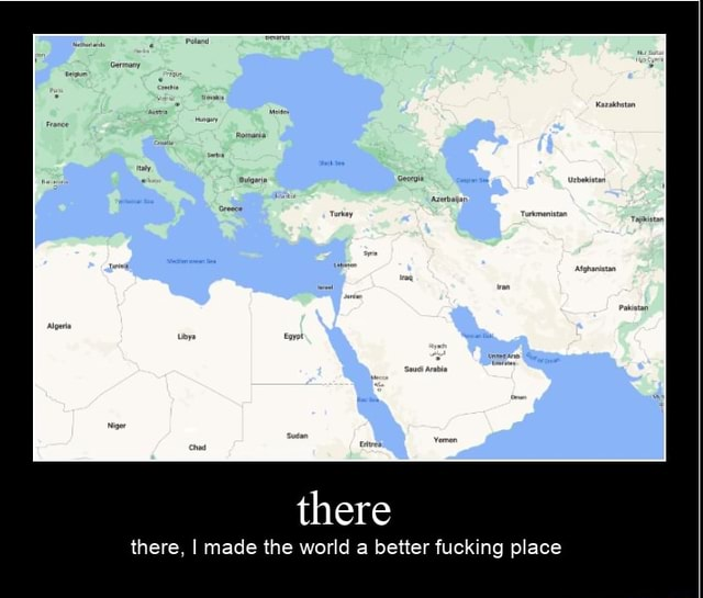 There there, I made the world a better fucking place meme