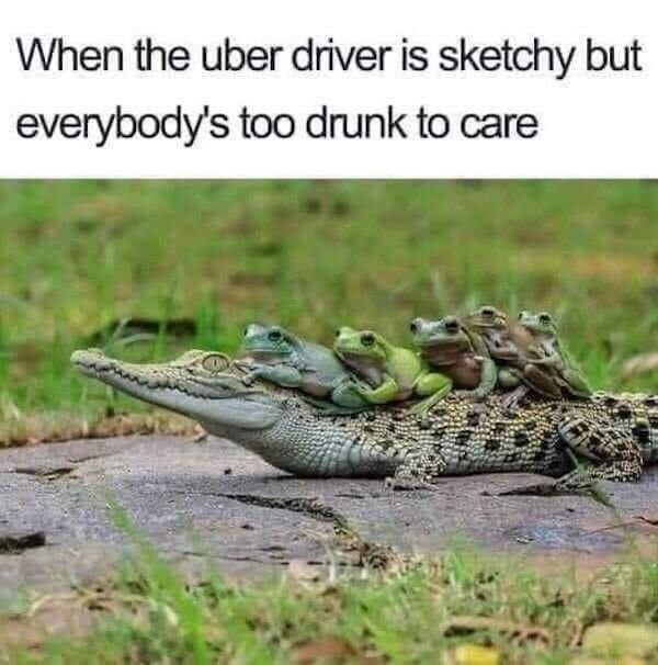 When the uber driver is sketchy but everybody's too drunk to care meme