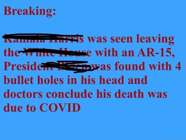 Breaking was seen leaving the with an AR 15, found with 4 bullet holes in his head and doctors conclude his death was due to COVID meme