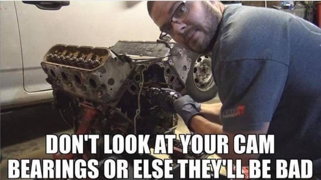 DON'T LOOK AT YOUR CAM BEARINGS OR ELSE THEY LL BE BAD meme