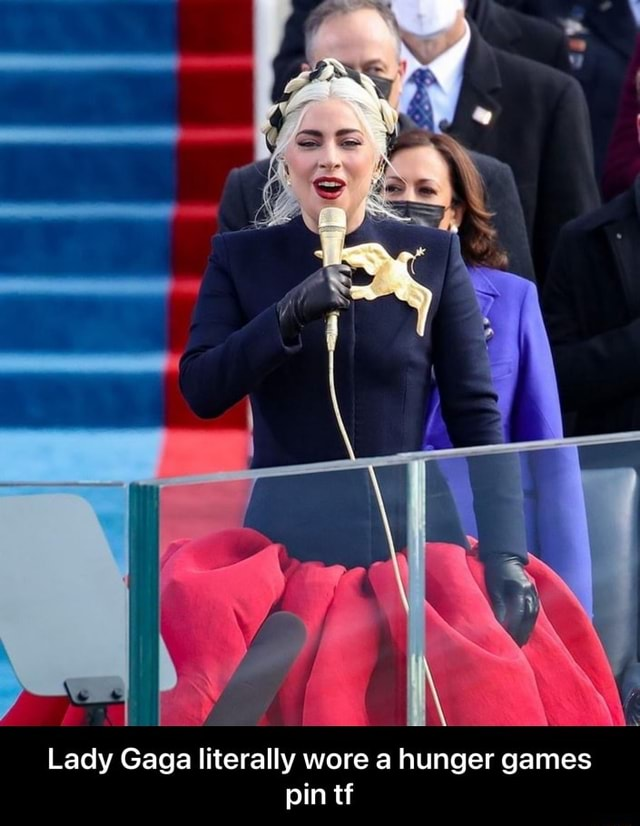 Lady Gaga literally wore a hunger games pin tf Lady Gaga literally wore a hunger games pin tf meme