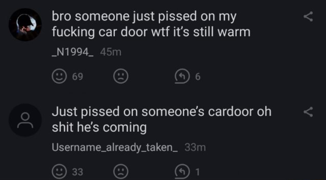 Bro someone just pissed on my fucking car door wit it's still warm N1994 69 Just pissed on someone's cardoor oh shit he's coming Username already taken 33 On meme