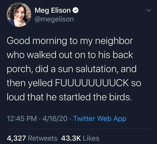 Meg Elison megelison Good morning to my neighbor who walked out on to his back porch, did a sun salutation, and then yelled FUUUUUUUUCK so loud that he startled the birds. PM Twitter Web Apo 4,327 memes