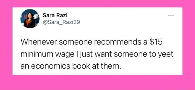 Sara Rezi Sara Razi29 Whenever someone recommends a $15 minimum wage I just want someone to yest an economics book at them meme