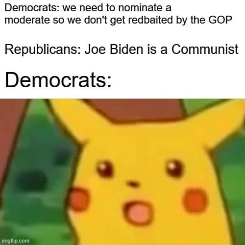 Democrats we need to nominate a moderate so we do not get redbaited by the GOP Republicans Joe Biden is a Communist Democrats memes