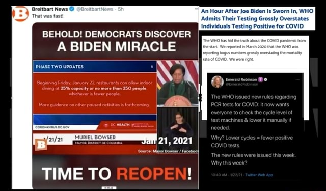 Breitbart News An Hour After Joe Biden Is Sworn In, WHO That was fast Admits Their Testing Grossly Overstates Individuals Testing Positive for COVID BEHOLD DEMOCRATS DISCOVER PHASE TWO UPDATES Beginning Friday, Jonuary 22, restaurants con allo BIDEN MIRACLE dining at 25% capacity or no more than 250 people. More guidance on other paused octivities Re fer everyone lo check level needed. tests. mechines lower Why Lewer cycles The new mules were week Winy week regarding 21, 2021 Source Mayor Bowser Faceboo TIME TO OP memes