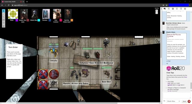 Turn Order Randvi, Ar nor and Saksi tun or thal Roll20 Chat Tips into the meme