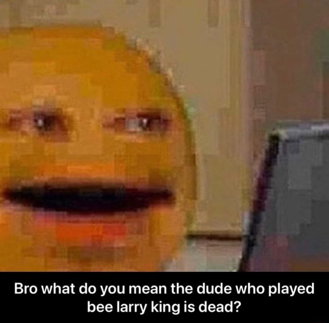 Bro what do you mean the dude who played bee larry king is dead Bro what do you mean the dude who played bee larry king is dead meme