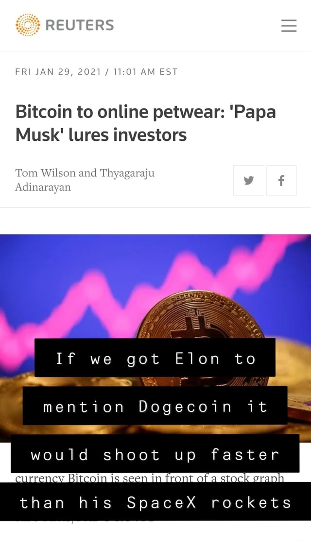 REUTERS FRI JAN 29, 2021  AM EST Bitcoin to online petwear  Papa Musk lures investors Tom Wilson and Tayagaraju Adinarayan If we got Elon to I mention Dogecoin it would shoot up faster eurrency Rikcain is seen im front of stack than his SpaceX rockets memes