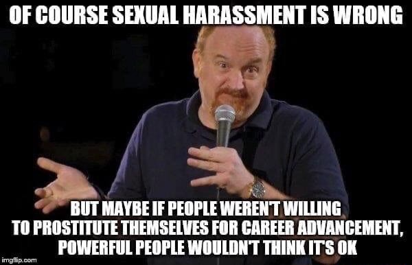 OF COURSE SEXUAL HARASSMENT IS WRONG BUT MAYBE IF PEOPLE WEREN'T WILLING TO PROSTITUTE THEMSELVES FOR CAREER ADVANCEMENT, POWERFUL PEOPLE WOULDN'T THINK IT'S OK meme