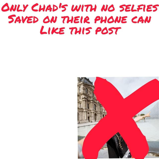 ONLY CHAD'S WITH NO SELFIES SAVED OW THEIR PHONE CAN LIKE THIS POST meme