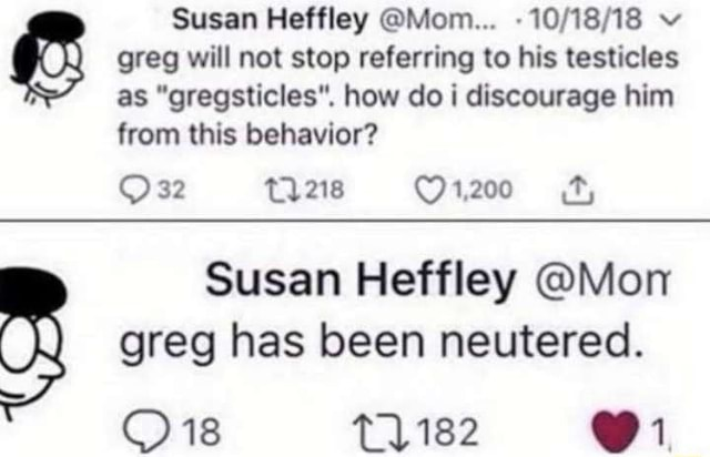 Susan Heffley Mom  greg will not stop referring to his testicles as gregsticles . how do i discourage him from this behavior 32 Susan Heffley Mon greg has been neutered. 18 T1182 1 meme