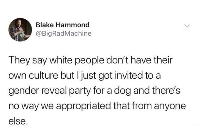 Blake Hammond BigRadMachine They say white people do not have their own culture but I just got invited to a gender reveal party for a dog and there's no way we appropriated that from anyone else memes
