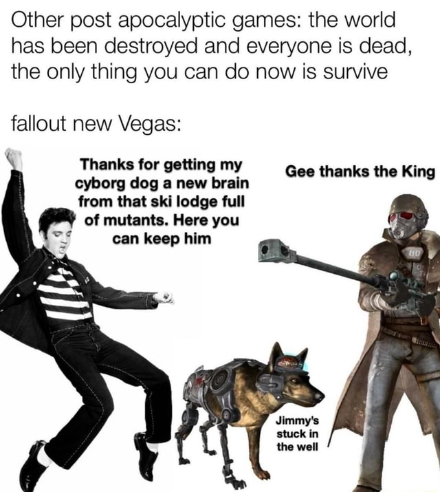 Other post apocalyptic games the world has been destroyed and everyone is dead, the only thing you can do now is survive fallout new Vegas Thanks for getting my cyborg dog Vhanks tor new brain getting my Gee thanks the King from that ski lodge full of mutants. Here you can keep him stuck in the well memes