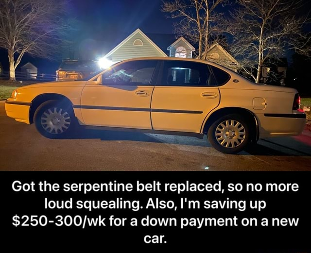 Got the serpentine belt replaced, so no more loud squealing. Also, I'm saving up for a down payment on anew car.  Got the serpentine belt replaced, so no more loud squealing. Also, I'm saving up $250 300 wk for a down payment on a new car memes