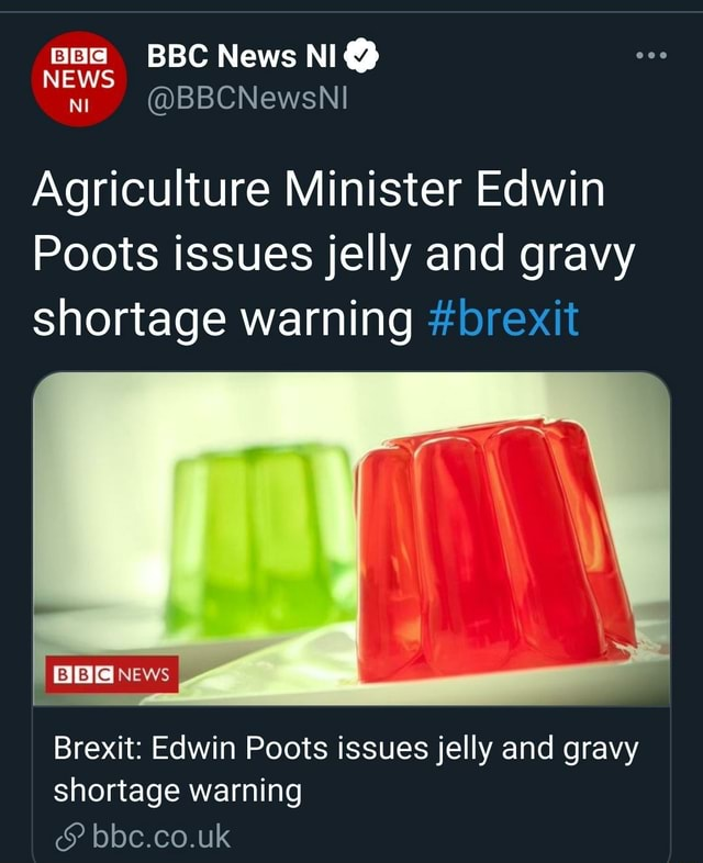 BBC News NI NEWS Agriculture Minister Edwin Poots issues jelly and gravy shortage warning brexit NEWS Brexit Edwin Poots issues jelly and gravy shortage warning bbc.co.uk memes