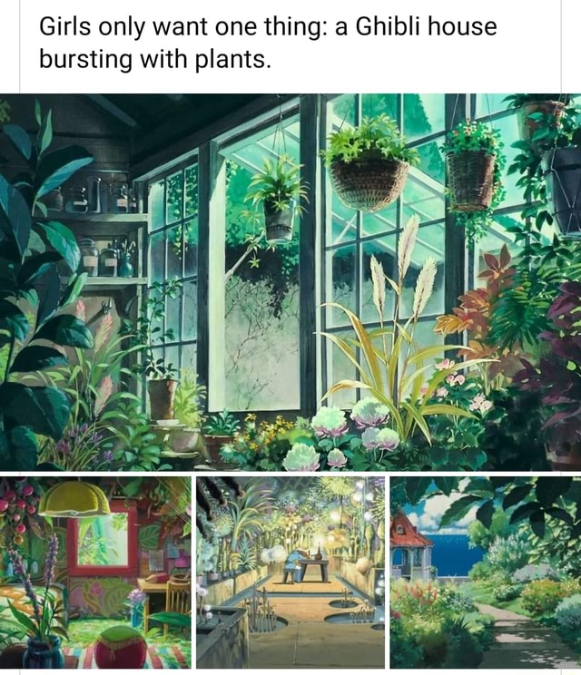 Girls only want one thing a Ghibli house bursting with plants memes