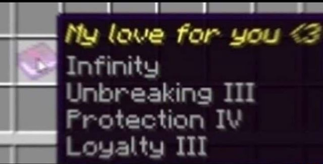 Ny lave for you Infinity Unbreaking III Frotection IV Loyalty III memes