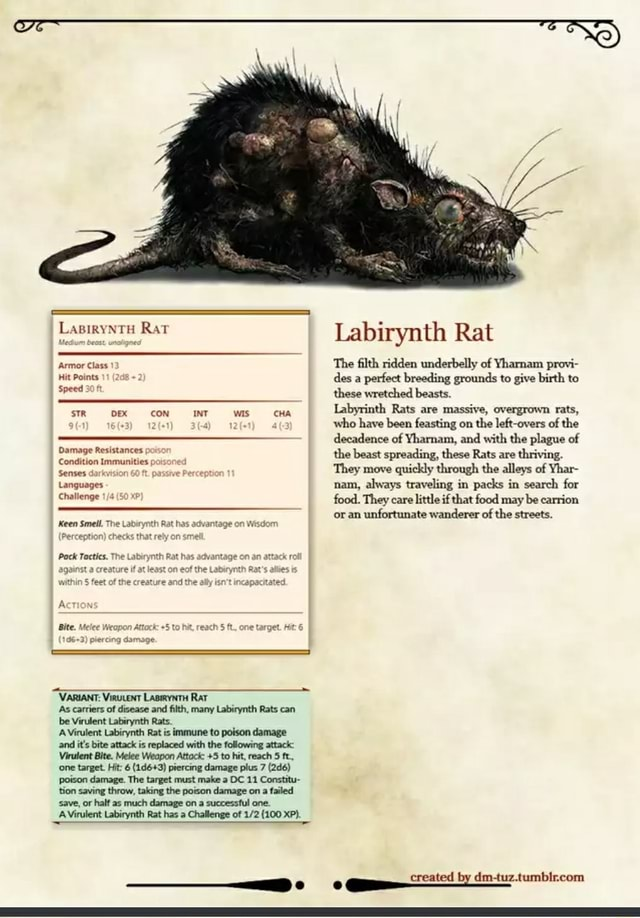 LapiryNTH Rat Armor Class Hit Points 11 Speed sTR DEX CON INT wis CHA Damage Resistances. Condition Immunities poisoned Senses darkvision 60 ft. passive Percepti Languages Challenge 50 xP Keen Smeil. The Perception ch Pock Tactics. VARIANT Virucent LasiryntH Rat ES As carriers of disease and filth, many Labirynth Rats can be Virulent Labirynth Rats. A Virulent Labirynth Rat is immune to poison damage and it's bite attack is replaced with the following attack Virulent Bite. Melee Weapon Attock 5 to hit, reach 5 ft., one target. Hit 6 piercing damage plus 7 poison damage. The target must make a DC 11 Constitu on saving throw, taking the poison damage on a failed save, or half as much damage on a successtul one. A Virulent Labirynth Rat has a Challenge of 100 XP . created by Labirynth Rat Th