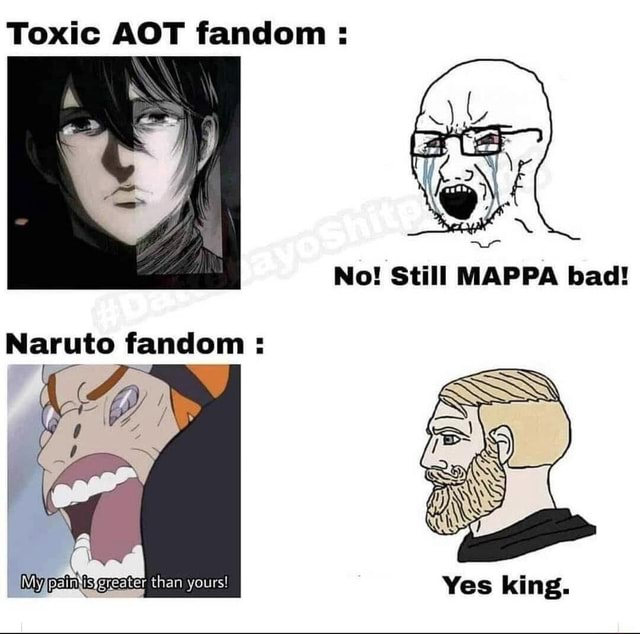 Toxic AOT fandom Naruto fandom IMyfpaintis greater than yours Yes king meme