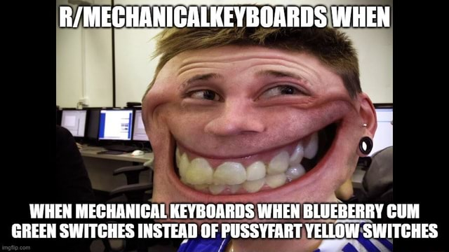 WHEN WHEN MECHANICAL KEYBOARDS WHEN BLUEBERRY CUM GREEN SWITCHES INSTEAD OF PUSS YELLOW SWITCHES meme