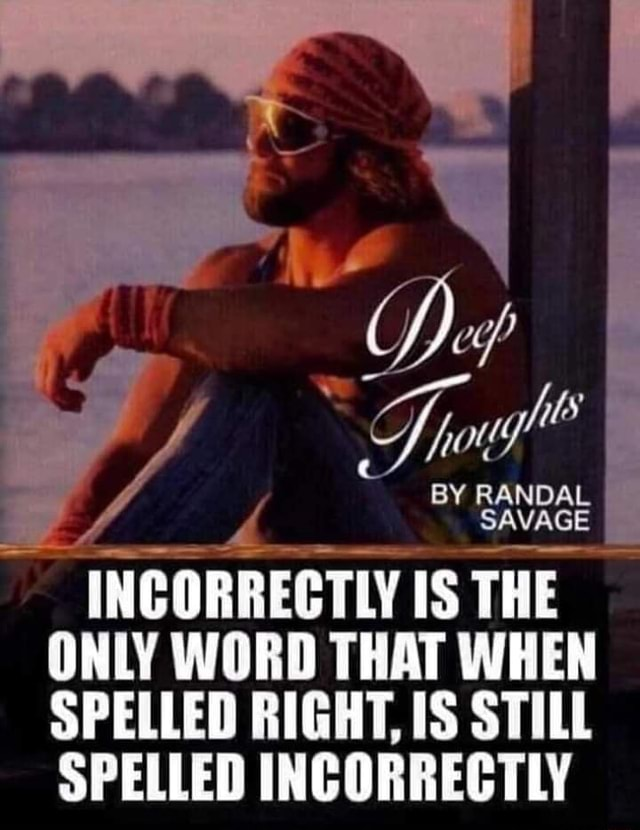 7 ls BY RANDAL SAVAGE INCORRECTLY IS THE ONLY WORD THAT WHEN SPELLED RIGHT, IS STILL SPELLED INCORRECTLY memes