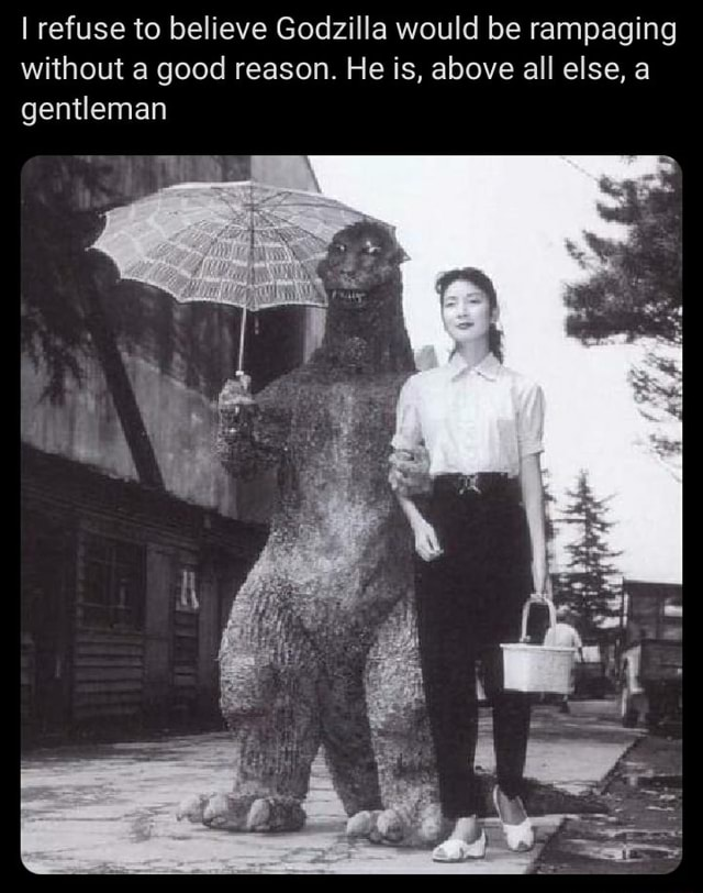 I refuse to believe Godzilla would be rampaging without a good reason. He is, above all else, a gentleman meme
