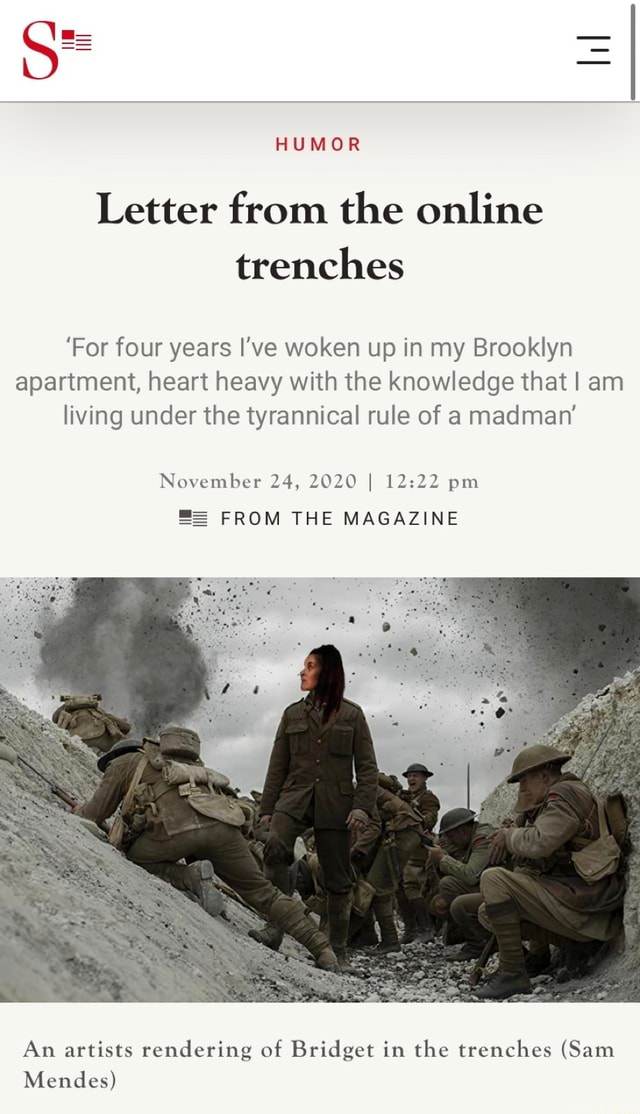 HUMOR Letter from the online trenches For four years I've woken up in my Brooklyn apartment, heart heavy with the knowledge that I am living under the tyrannical rule of a madman November 24, 2020 I pm FROM THE MAGAZINE An artists rendering of Bridget in the trenches Sam Mendes meme
