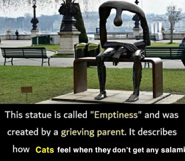 This statue is called Emptiness and was created by a grieving parent. It describes how Cats feel when they do not get any salami meme