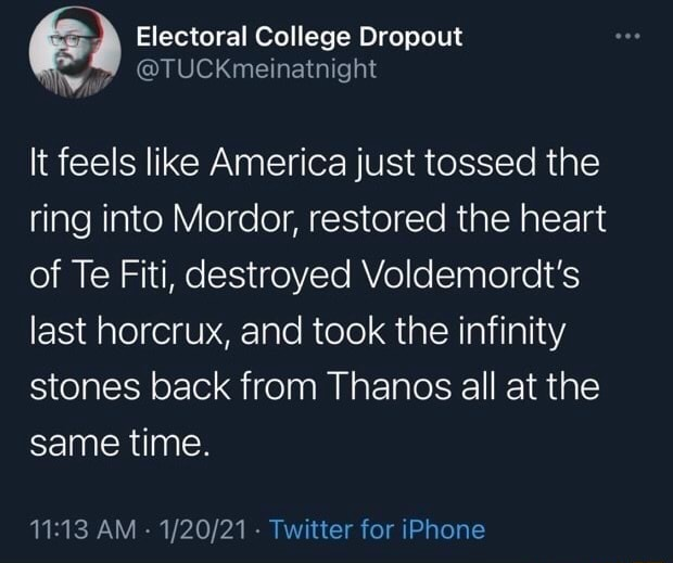 Electoral College Dropout It feels like America just tossed the ring into Mordor, restored the heart of Te Fiti, destroyed Voldemordt's last horcrux, and took the infinity stones back from Thanos all at the same time. AM Twitter for iPhone meme