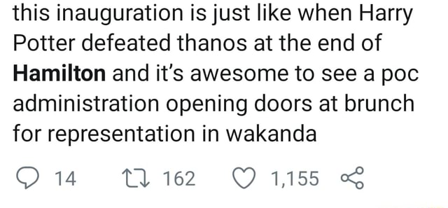 This inauguration is just like when Harry Potter defeated thanos at the end of Hamilton and it's awesome to see a poc administration opening doors at brunch for representation in wakanda 1,155 meme