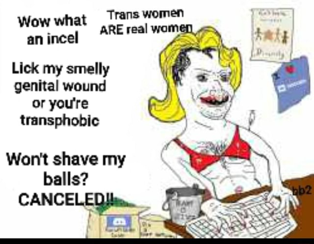 Trans women Wow what ARE real womel I an incel Lick my smelly genital wound or you're transphobic Won't shave my balls CANCELED meme