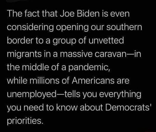 The fact that Joe Biden is even considering opening our southern border to a group of unvetted migrants in a massive caravan in the middle of a pandemic, while millions of Americans are unemployed tells you everything you need to know about Democrats priorities meme