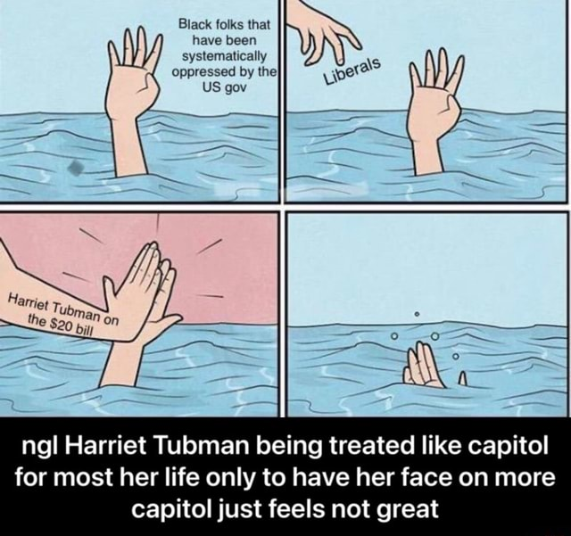 Black folks that have been systematically oppressed by the} US gov Harrie Tubm the $29 on ngl Harriet Tubman being treated like capitol for most her life only to have her face on more capitol just feels not great  ngl Harriet Tubman being treated like capitol for most her life only to have her face on more capitol just feels not great memes